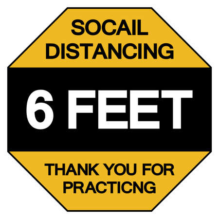 Social Distancing 6 Feet Thank You For Practicing Symbol, Vector  Illustration, Isolated On White Background Label.  イラスト・ベクター素材