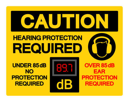 Caution Hearing Protection Required Symbol Sign,Vector Illustration, Isolate On White Background Label. EPS10  イラスト・ベクター素材