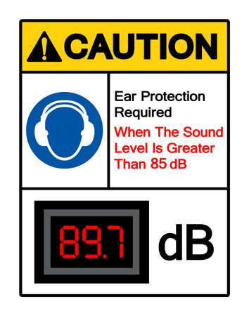 Caution Ear Protection Required When The Sound Level Is Greater Than 85 dB Symbol Sign,Vector Illustration, Isolate On White Background Label. EPS10  イラスト・ベクター素材