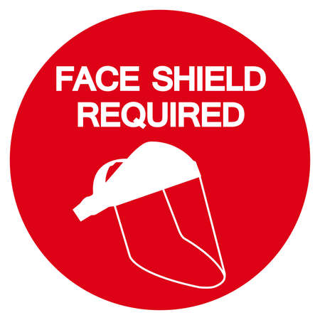 Face Shield Required Symbol Sign,Vector Illustration, Isolated On White Background Label. EPS10  イラスト・ベクター素材