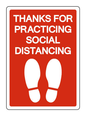 Thanks For Practing Social Distancing Symbol, Vector  Illustration, Isolated On White Background Label. EPS10