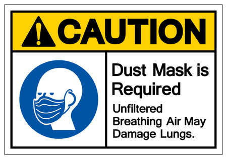 Caution Dust Mask is Required Breathing Unfiltered Air May Damage Lungs Symbol Sign, Vector Illustration, Isolate On White Background Label. EPS10