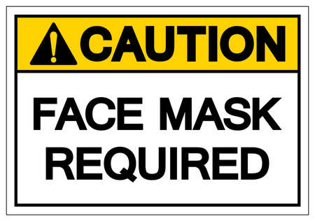 Caution Face Mask Required Symbol Sign,Vector Illustration, Isolated On White Background Label. EPS10  イラスト・ベクター素材