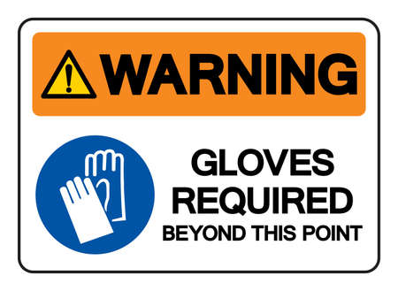 Warning Gloves Required Beyond This Point Symbol Sign, Vector Illustration, Isolate On White Background Label .