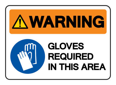 Warning Gloves Required In This Area Symbol Sign, Vector Illustration, Isolate On White Background Label .EPS10