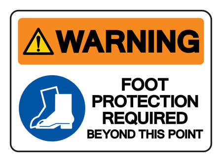 Warning Foot Protection Required Beyond This Point Symbol Sign, Vector Illustration, Isolate On White Background Label .EPS10  イラスト・ベクター素材