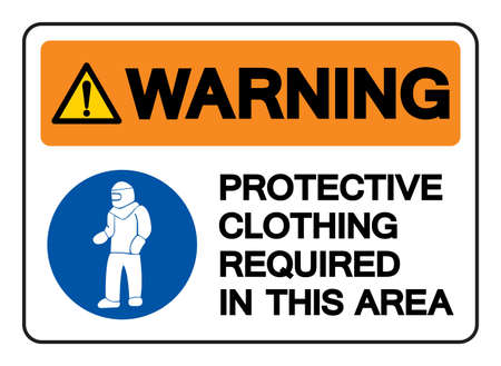 Warning Protective Clothing Required In This Area Symbol Sign,Vector Illustration, Isolated On White Background Label. EPS10  イラスト・ベクター素材