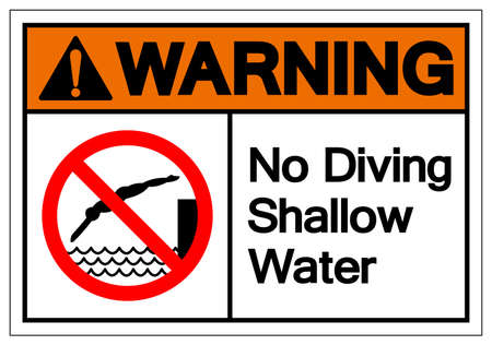 Warning No Diving Shallow Water Symbol, Vector  Illustration, Isolated On White Background Label  イラスト・ベクター素材
