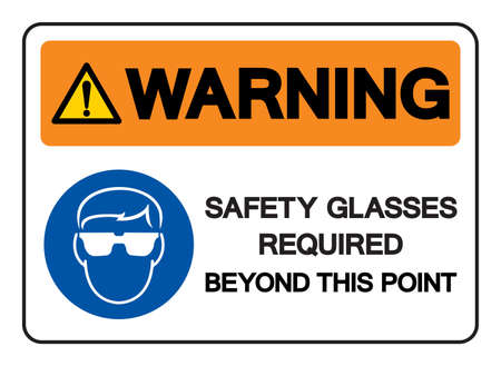 Warning Safety Glasses Required Beyond This Point Symbol Sign, Vector Illustration, Isolated On White Background Label  イラスト・ベクター素材