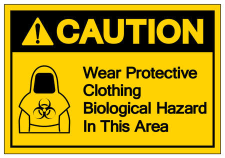 Caution Protective Clothing Biological Hazard Symbol, Vector Illustration, Isolate On White Background Label  イラスト・ベクター素材