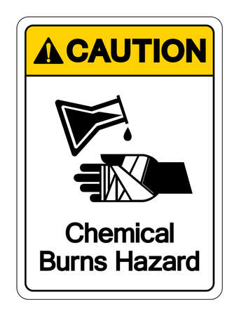 Caution Chemical Burns Hazard Symbol Sign ,Vector Illustration, Isolate On White Background Label