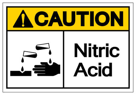 Caution Nitric Acid Symbol Sign, Vector Illustration, Isolate On White Background Label