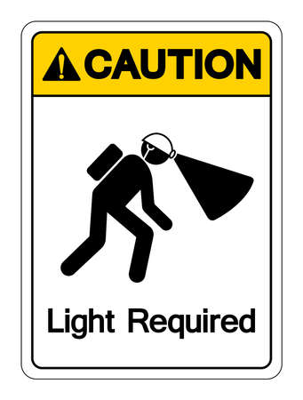 Caution Light Required Symbol Sign ,Vector Illustration, Isolate On White Background Label Vettoriali