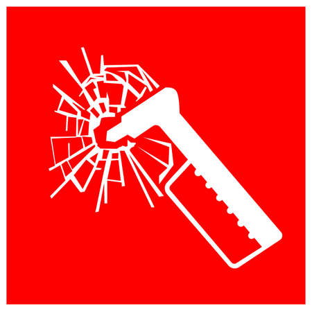 Emergency Hammer Symbol Sign, Vector Illustration, Isolate On White Background Label. EPS10  イラスト・ベクター素材