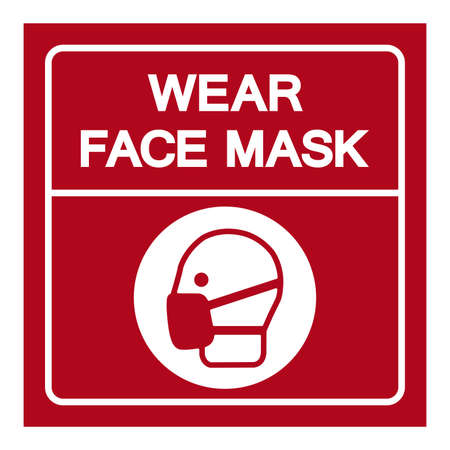 Wear Face Mask Symbol Sign, Vector Illustration, Isolate On White Background Label. EPS10