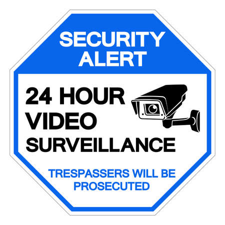Security Alert 24 Hour Video Surveillance Symbol Sign, Vector Illustration, Isolate On White Background Label. EPS10