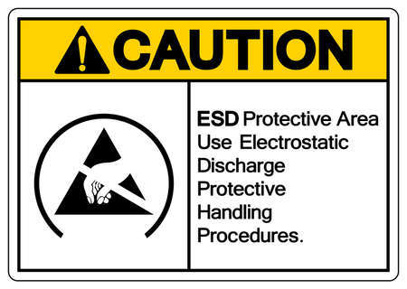 Caution ESD Protective Area Use Electrostatic Discharge Protective Handling Procedures Symbol Sign, Vector Illustration, Isolated On White Background Label .EPS10