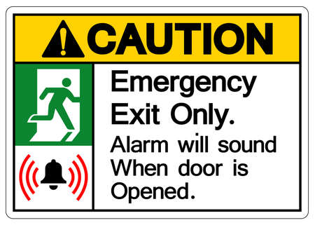 Caution Emergency Exit Only Alarm will sound when door is opened Symbol Sign, Vector Illustration, Isolate On White Background Label. EPS10  イラスト・ベクター素材