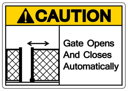 Caution Gate Opens and Closes Automatically Symbol Sign, Vector Illustration, Isolate On White Background Label. EPS10
