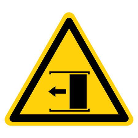 Warning Door Slides Left To Open Symbol Sign, Vector Illustration, Isolate On White Background Label .