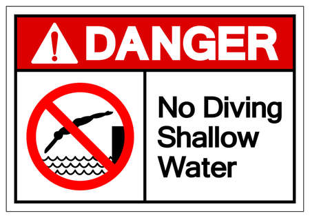 Danger No Diving Shallow Water Symbol, Vector Illustration, Isolated On White Background Label. EPS10