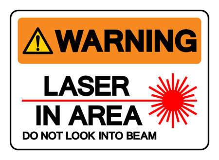 Warning Laser In Area Do Not Look Into Beam Symbol Sign, Vector Illustration, Isolate On White Background Label. EPS10