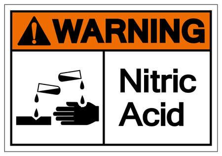 Warning Nitric Acid Symbol Sign, Vector Illustration, Isolate On White Background Label. EPS10