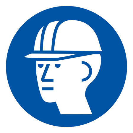 Wear Hard Hat Symbol Sign ,Vector Illustration, Isolate On White Background Label. EPS10