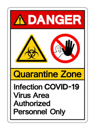 Danger Quarantine Zone Infection Covid-19 Virus Area Authorized Personnel Only Symbol Sign, Vector Illustration, Isolated On White Background Label. EPS10 Illusztráció