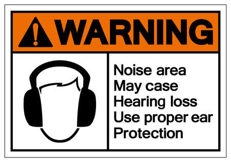 Warning Noise area May case Hearing loss Use proper ear ProtectionSymbol Sign,Vector Illustration, Isolate On White Background Label. EPS10