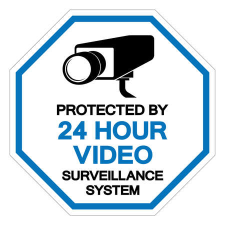 Protected By 24 Hour Video Surveillance System Symbol Sign, Vector Illustration, Isolate On White Background Label. EPS10