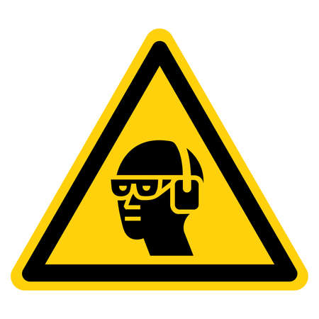 Warning Wear Chemical Goggles and Ear Muffs Symbol Sign