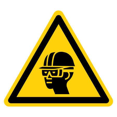 Warning Wear Hard Hat and Chemical Goggles Symbol Sign ,Vector Illustration, Isolate On White Background Label. EPS10