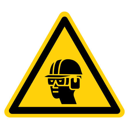 Warning Wear Hard Hat, Chemical Goggles and Ear Muffs Symbol Sign ,Vector Illustration, Isolate On White Background Label. EPS10