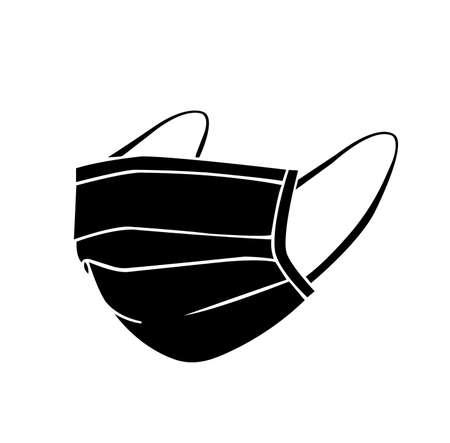 Face Mask Black Icon, Vector Illustration, Isolate On White Background Label. EPS10
