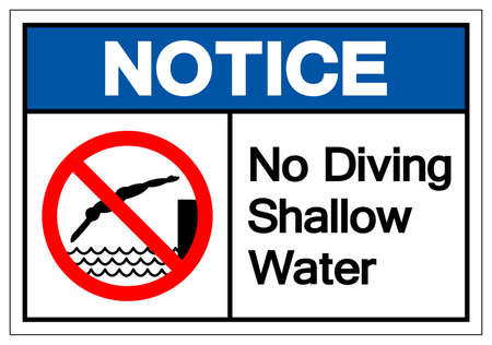 Notice No Diving Shallow Water Symbol, Vector  Illustration, Isolated On White Background Label. EPS10