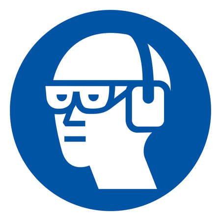 Wear Chemical Goggles and Ear Muffs Symbol Sign ,Vector Illustration, Isolate On White Background Label.