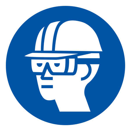 Wear Hard Hat and Chemical Goggles Symbol Sign ,Vector Illustration, Isolate On White Background Label.