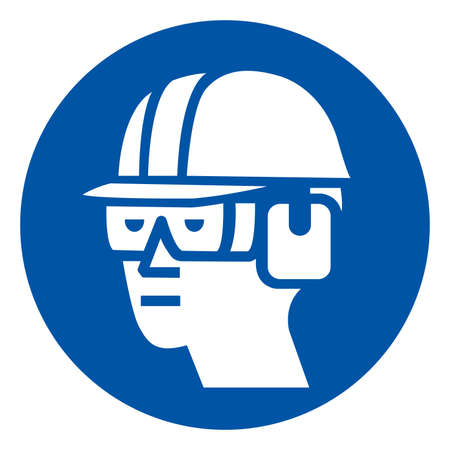 Wear Hard Hat, Chemical Goggles and Ear Muffs Symbol Sign ,Vector Illustration, Isolate On White Background Label. Çizim