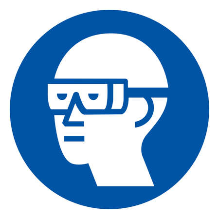 Wear Chemical Goggles Symbol Sign ,Vector Illustration, Isolate On White Background Label.