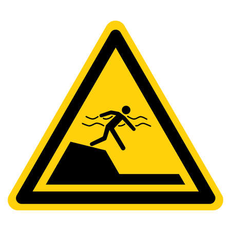 Warning Sudden Drop-Off Be Careful Symbol Sign, Vector Illustration, Isolate On White Background Label.