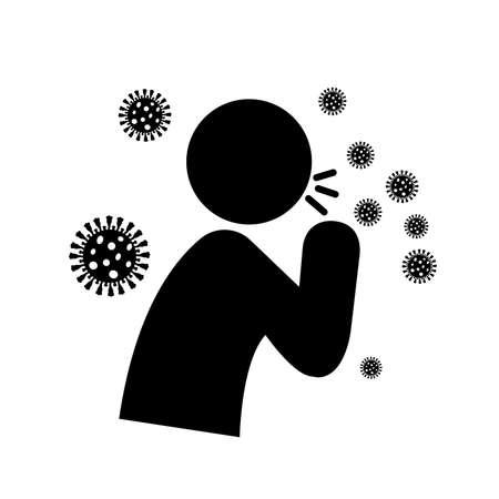 New Cough Symptoms Covid-19 Black Icon, Vector Illustration, Isolate On White Background Label. Illusztráció