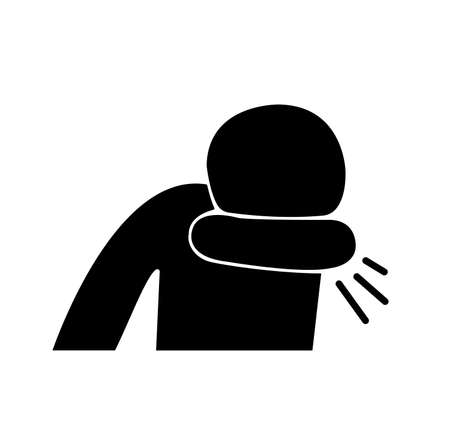 Cover your cough and sneeze Black Icon, Vector Illustration, Isolate On White Background Label.