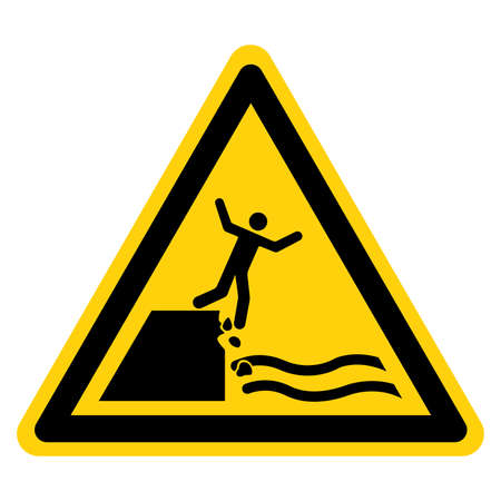 Warning Keep Out Unstable Cliff Symbol Sign, Vector Illustration, Isolate On White Background Label. Illusztráció