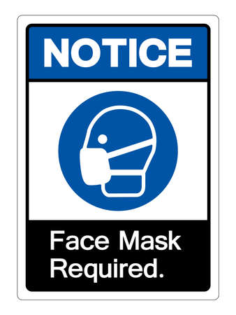 Face Mask Required Symbol Sign,Vector Illustration, Isolated On White Background Label.