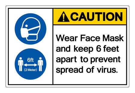Caution Wear Face Mask and keep 6 feet apart to prevent spread of virus Symbol Sign, Vector Illustration, Isolate On White Background Label.