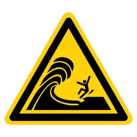 Warning Waves Break On Ledge Stand Back Symbol Sign, Vector Illustration, Isolate On White Background Label. Illusztráció