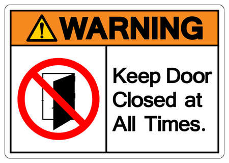 Warning Keep Door Closed at all Times Symbol Sign ,Vector Illustration, Isolate On White Background Label .EPS10 Illusztráció