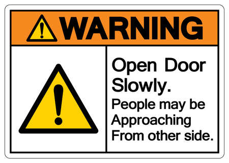 Warning Open Door Slowly People may be Approaching From other side Symbol Sign,Vector Illustration, Isolated On White Background Label. EPS10 Illusztráció