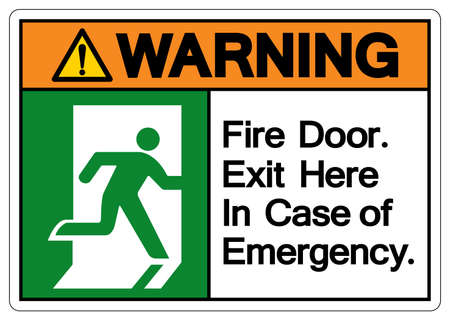 Warning Fire Door Exit Here In Case Of Emergency Symbol Sign, Vector Illustration, Isolate On White Background Label. 向量圖像